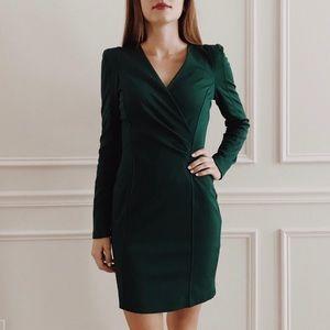 {Forever 21} V-Neck Long Sleeve Green Dress